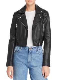 AQUA Cropped Leather Moto Jacket - 100% Exclusive