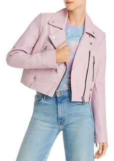 AQUA Cropped Leather Moto Jacket - 100% Exclusive