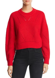 AQUA Cropped Pointelle Sweater - 100% Exclusive