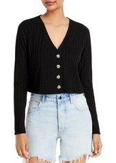 AQUA Cropped Ribbed Knit Cardigan - 100% Exclusive