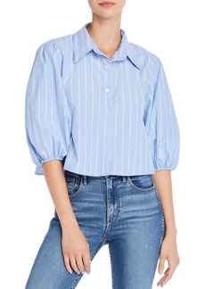 AQUA Cropped Striped Shirt - 100% Exclusive