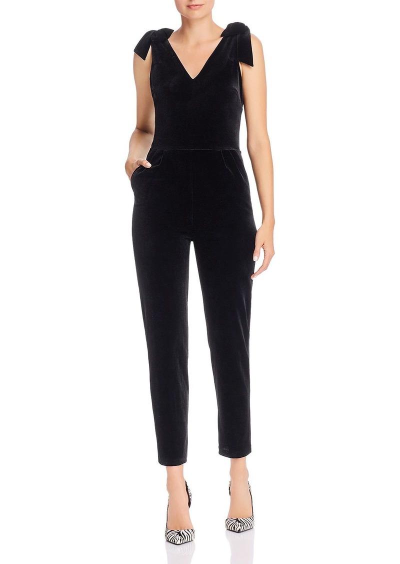 AQUA Cropped Velvet Bow-Detail Jumpsuit - 100% Exclusive