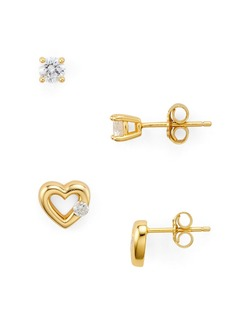 AQUA Cubic Zirconia Heart & Solitaire Stud Earrings in 18K Gold-Plated Sterling Silver, Set of 2 - 100% Exclusive