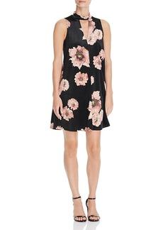 Aqua Cutout Floral Print Velvet Dress - 100% Exclusive