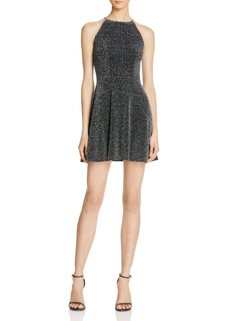 AQUA Diamond Metallic High Neck Dress