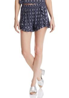 AQUA Diamond-Print Ruffle Shorts - 100% Exclusive