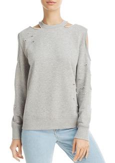 AQUA Distressed Cold-Shoulder Sweatshirt - 100% Exclusive