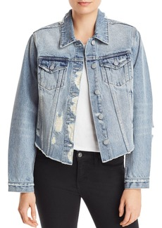 AQUA Distressed Cropped Denim Jacket - 100% Exclusive