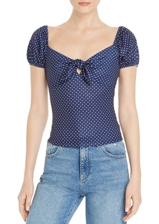 AQUA Dot-Print Tie-Front Top - 100% Exclusive