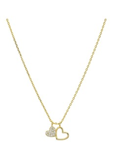 "AQUA Double Heart Pendant Necklace in 14K Gold-Plated Sterling Silver or Sterling Silver, 16"" - 100% Exclusive"