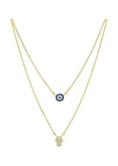 "AQUA Double Strand Hamsa Pendant Necklace in 14K Gold-Plated Sterling Silver or Sterling Silver, 14""-16"" - 100% Exclusive"