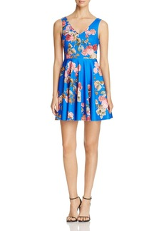 AQUA Double V Floral Skater Dress - 100% Exclusive