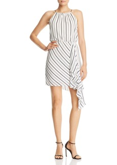 AQUA Draped Asymmetric Striped Dress - 100% Exclusive