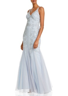 AQUA Embellished Mesh Gown - 100% Exclusive