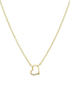 "AQUA Embellished Open Heart Pendant Necklace in 14K Gold-Plated Sterling Silver or Sterling Silver, 16"" - 100% Exclusive"