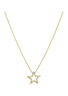 "AQUA Embellished Star Pendant Necklace in 14K Gold-Plated Sterling Silver or Sterling Silver, 16"" - 100% Exclusive"