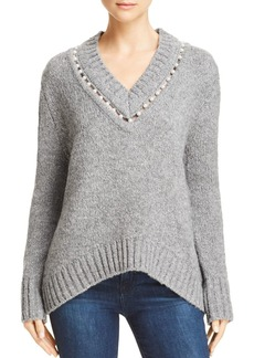 AQUA Embellishedl V-Neck Sweater - 100% Exclusive