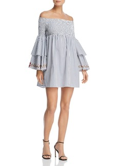 AQUA Embroidered Bell Sleeve Dress - 100% Exclusive