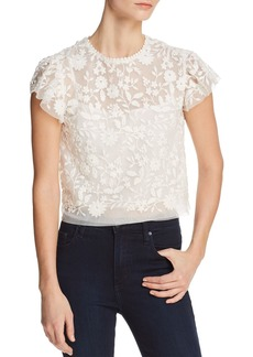 AQUA Embroidered Flutter Sleeve Top - 100% Exclusive