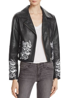AQUA Embroidered Leather Jacket - 100% Exclusive