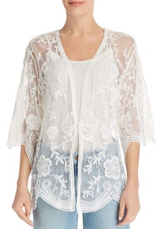 AQUA Embroidered-Mesh Kimono - 100% Exclusive