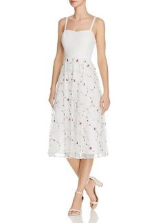 AQUA Embroidered Midi Dress - 100% Exclusive
