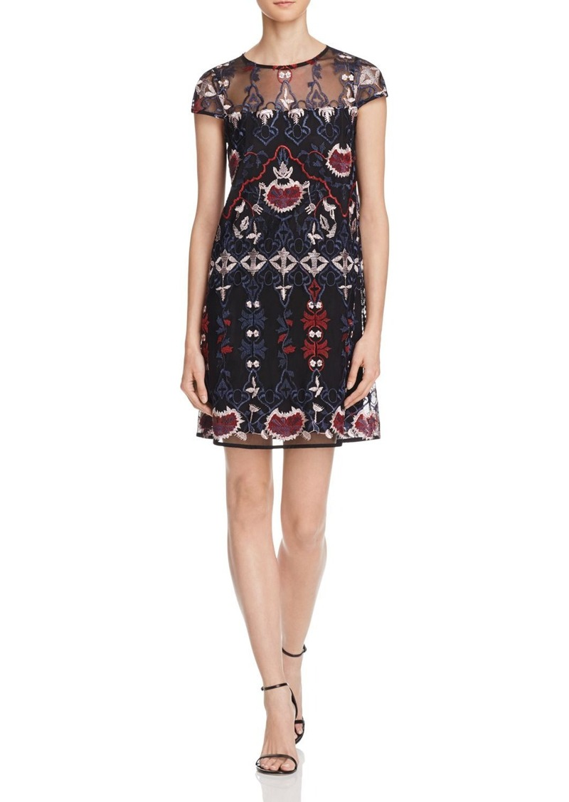AQUA Embroidered Shift Dress