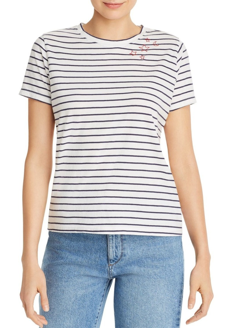 AQUA Embroidered Striped Tee - 100% Exclusive