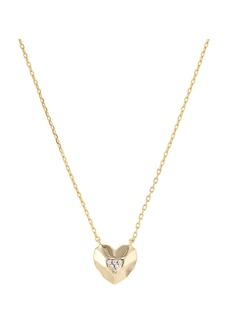 """AQUA Faceted Heart Pendant Necklace in 14K Gold-Plated Sterling Silver, 16"""" - 100% Exclusive"""