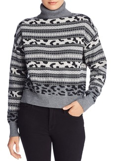 AQUA Fair Isle Animal Knit Turtleneck Sweater - 100% Exclusive