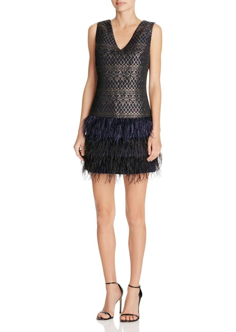 AQUA Faux Feather Trim Dress - 100% Exclusive