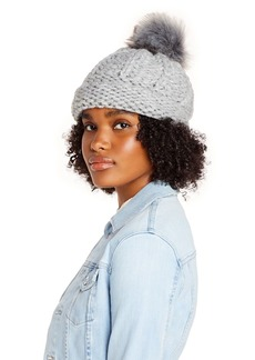 AQUA Faux Fur Pom-Pom Knit Hat