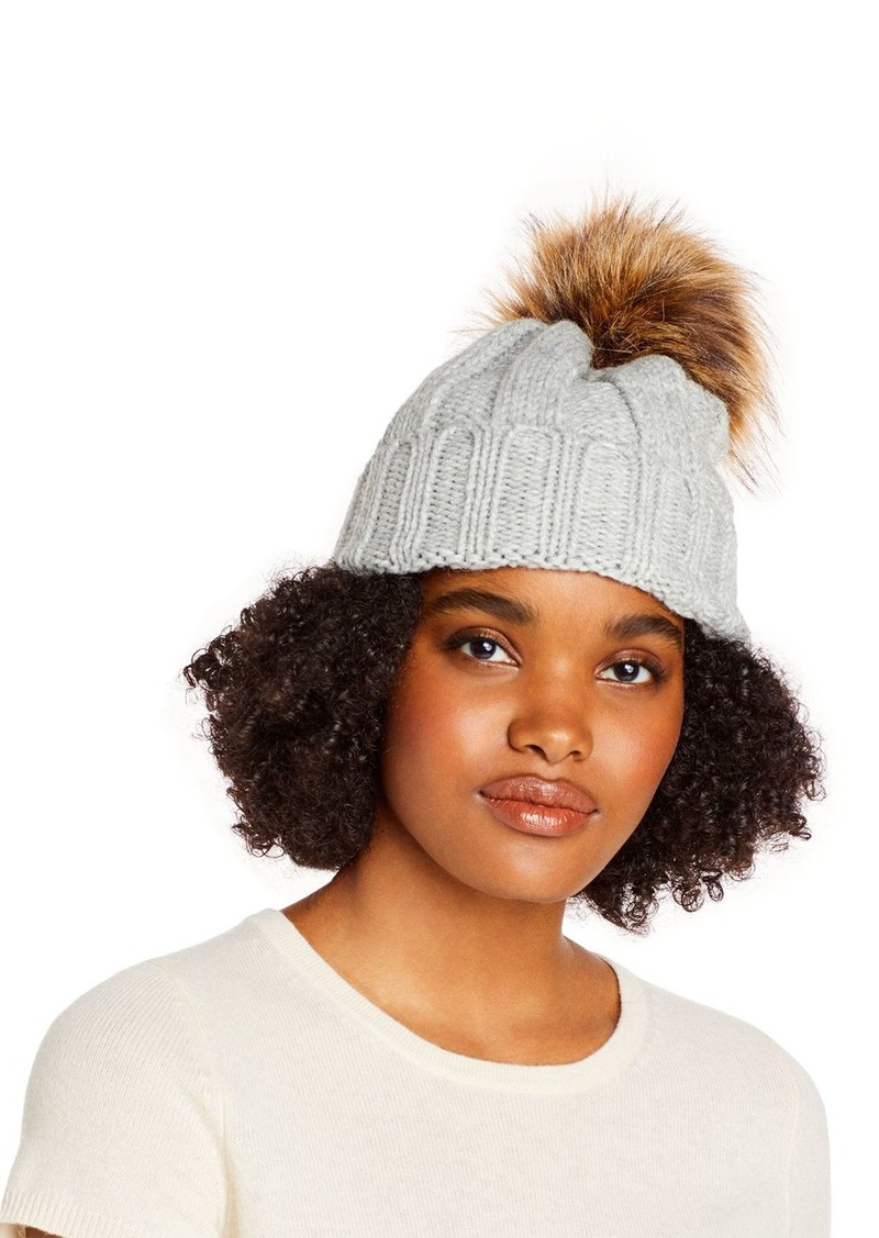 AQUA Faux Fur Pom Pom Knit Hat