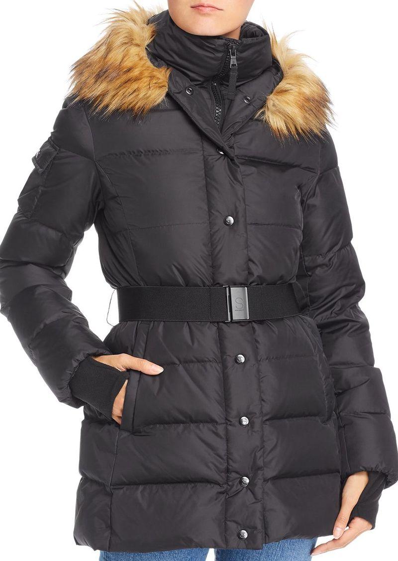 AQUA Faux Fur-Trim Belted Puffer Coat - 100% Exclusive