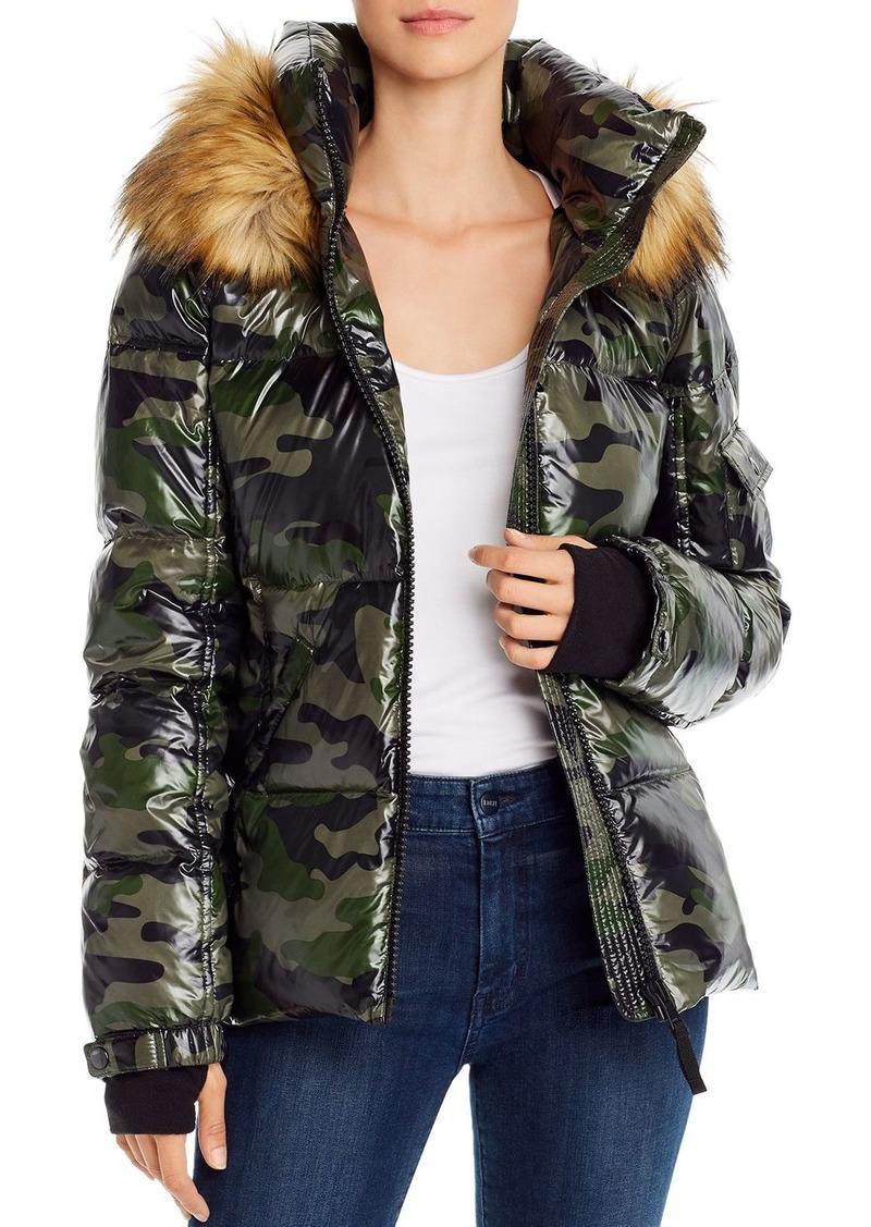 AQUA Faux Fur-Trim Camo Puffer Jacket - 100% Exclusive