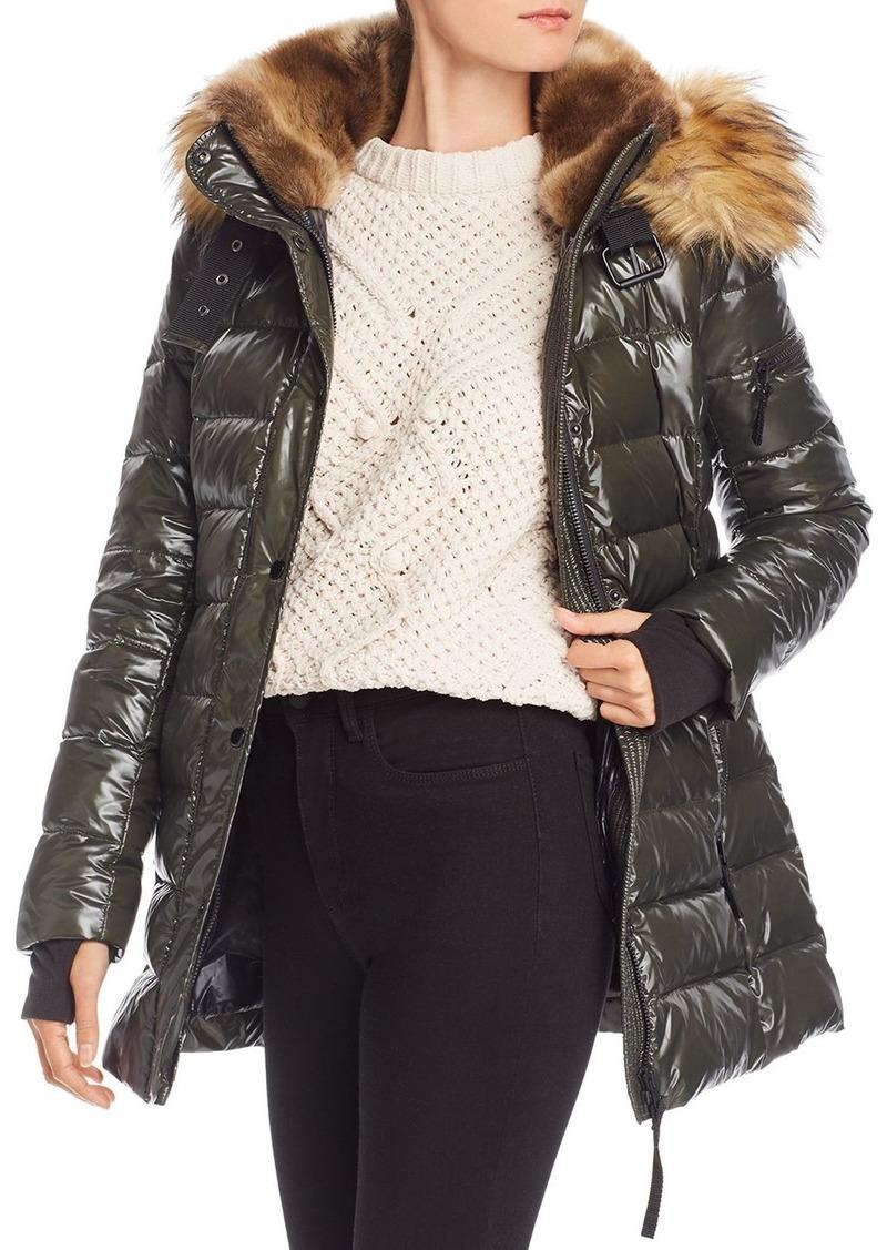 AQUA Faux Fur-Trim Glossy Puffer Coat - 100% Exclusive