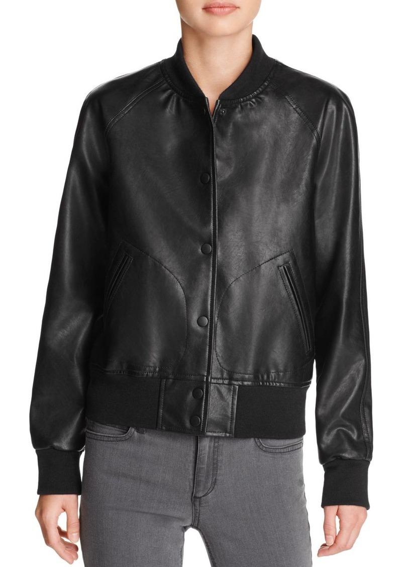 AQUA Faux Leather Bomber Jacket