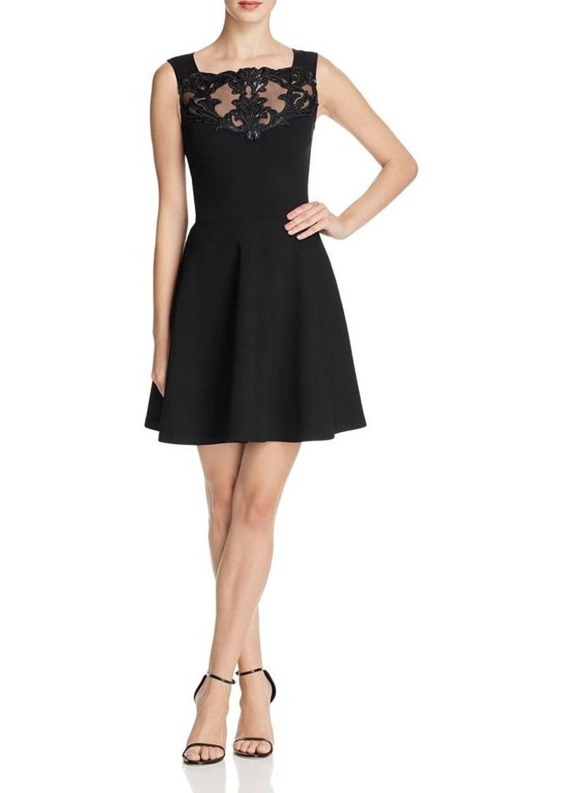 AQUA Faux Leather Floral Dress