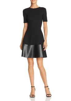 AQUA Faux-Leather Hem Dress - 100% Exclusive