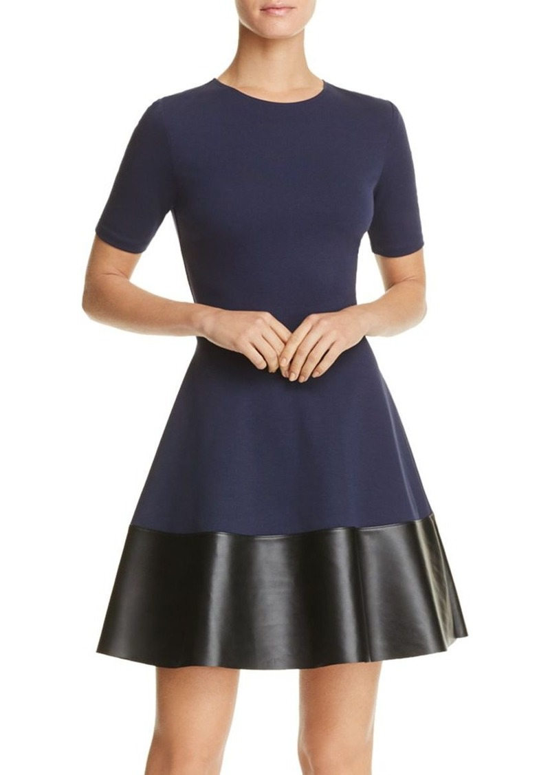 AQUA Faux Leather Hem Dress - 100% Exclusive