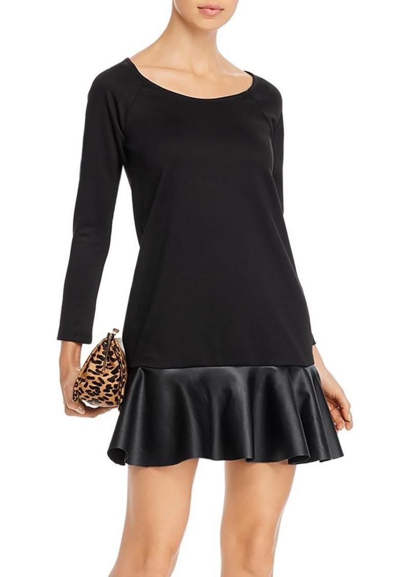 AQUA Faux-Leather Hem Shift Dress - 100% Exclusive