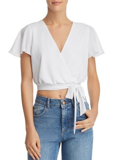 AQUA Faux-Wrap Cropped Top - 100% Exclusive