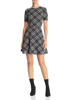 AQUA Flocked Plaid Skater Dress - 100% Exclusive