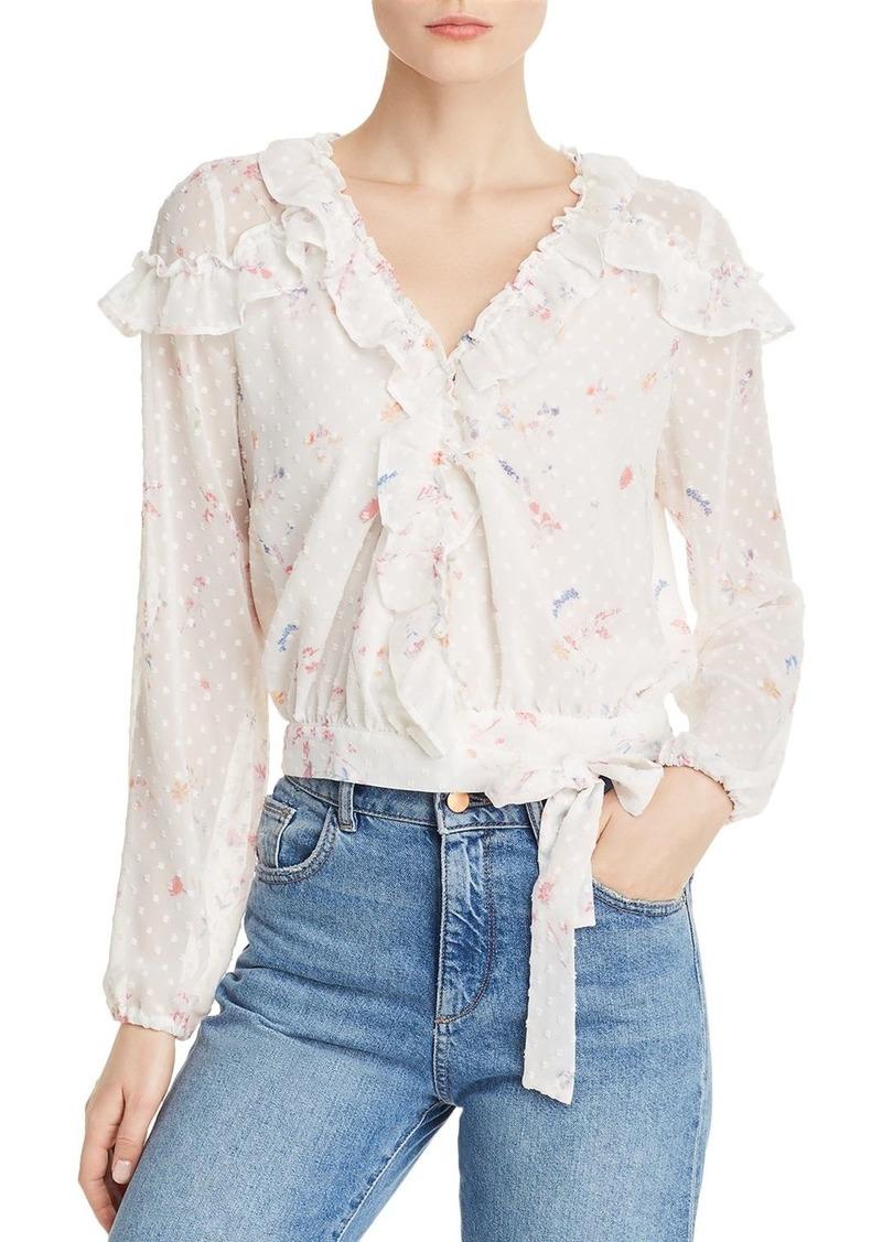 AQUA Floral Clip Dot Wrap Top - 100% Exclusive