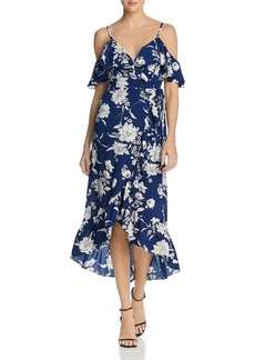 AQUA Floral Cold-Shoulder Ruffle Wrap Dress - 100% Exclusive