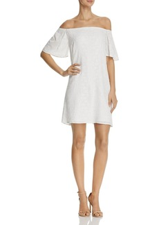AQUA Floral Embroidered Off-the-Shoulder Dress - 100% Exclusive