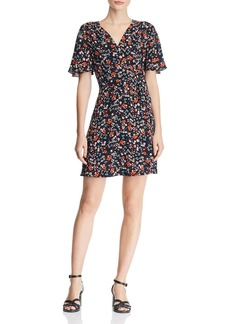 AQUA Floral Faux-Wrap Dress - 100% Exclusive