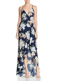 AQUA Floral Faux-Wrap Gown - 100% Exclusive