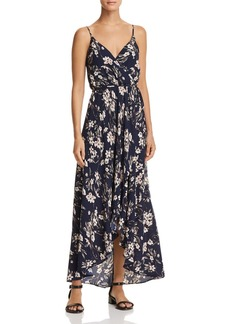 AQUA Floral Faux-Wrap Maxi Dress - 100% Exclusive