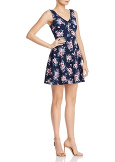 AQUA Floral Fit-and-Flare Mini Dress - 100% Exclusive